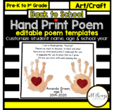 Back to School Hand Print Poem