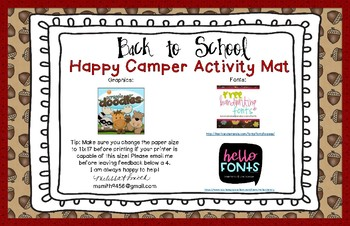 Back to School Happy Camper Activity Mat