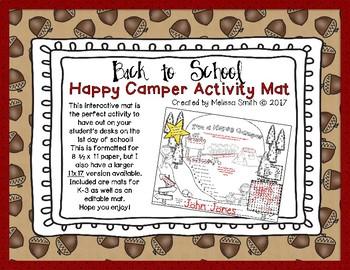 Back to School Happy Camper Activity Mat (8.5x11)
