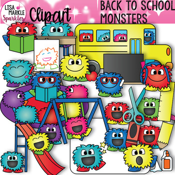 Back to School Happy Monsters Clipart