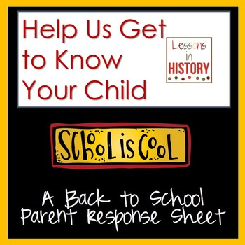 Back to School - Help Us Learn About Your Child - Parent Response Sheet