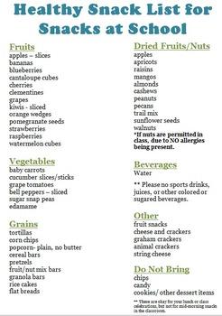 Back to School Helpful Handout: Healthy School Snacks
