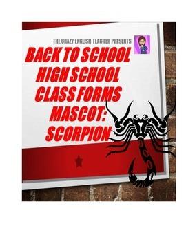 Back to School High School Printables Kit: Mascot-Scorpion