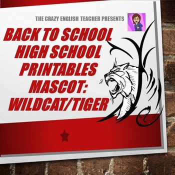 Back to School High School Printables Kit: Mascot- Tiger/Wildcat