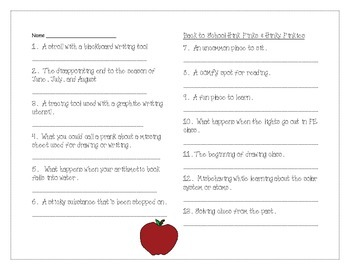 Back to School Hink Pinks Vocabulary Riddles