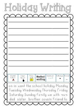 Back to School Holiday Writing Worksheet by Liz Whiteway | TpT