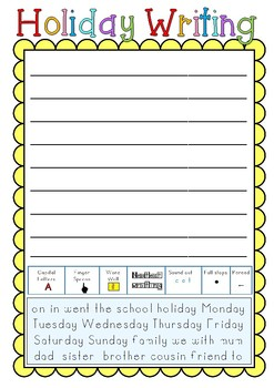 Back to School Holiday Writing Worksheet