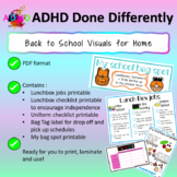 Back to School Home jobs Visuals for children with ADHD