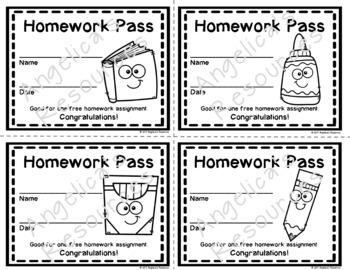 Back to School Homework Pass - Incentive Reward Coupon