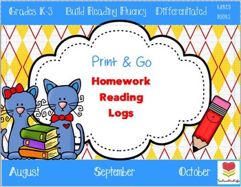 Back to School Homework Reading Logs