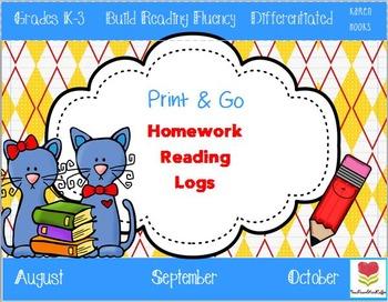 Back to School Homework Reading Logs