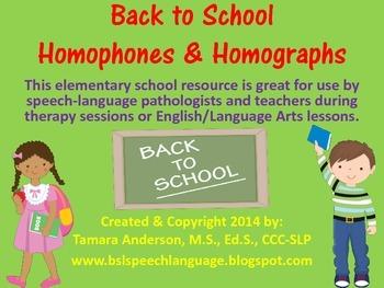 Back to School Homophones & Homographs