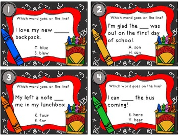 Back to School Homophones Task Cards (With QR Code Option)