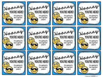 Hooray You're Here Back 2 School Emoji Gift Tags *Editable*