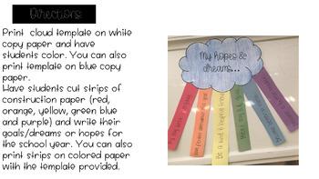 Back to School: Hopes & Dreams Rainbow Craftivity