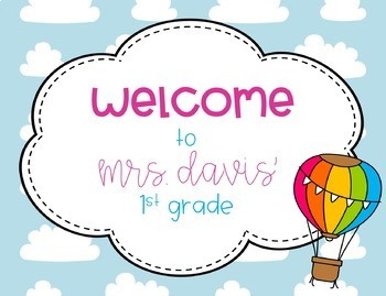 Back to School Hot Air Balloon Welcome Postcards from Teacher