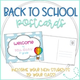 Hot Air Balloon Editable Back to School Postcards to Students