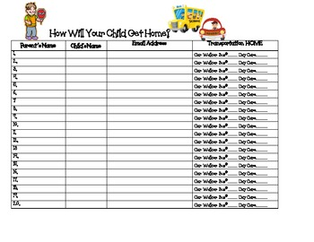 Back to school how will your child get home sign in for Back to school sign in sheet template