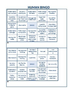 Back-to-School Human Bingo: 4 different game cards, middle or high school! FREE