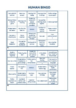 Back-to-School Human Bingo: 4 different game cards, middle