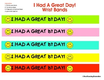 """Back to School- """"I Had a Great 1st Day"""" Bracelet"""