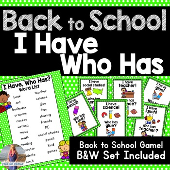 "Back to School ""I Have, Who Has"" Game!"