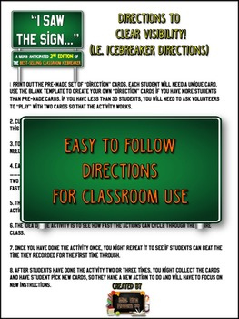 """Back to School ICEBREAKER 2nd Edition: """"I saw the SIGN!?"""" FUN Grades 6-12"""
