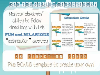 "Back to School ICEBREAKER Activity: ""Can you follow directions?"" FUN Grades 6-12"
