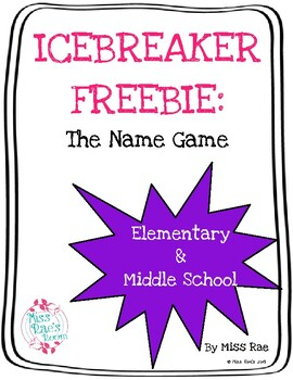 Back to School * ICEBREAKER FREEBIE * The Name Game * Social Emotional Learning