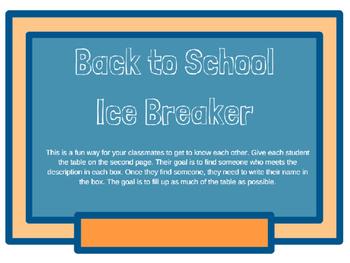 Back to School Ice Breaker