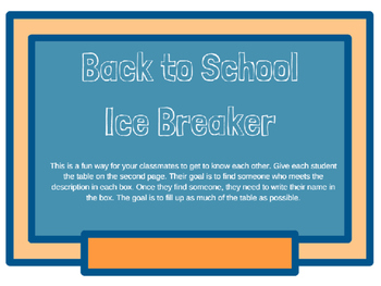 Back to School Ice Breaker