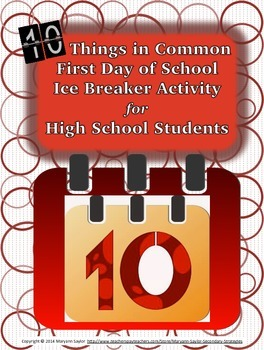 Back to School Ice Breaker Activity : 10 Things in Common {freebie}