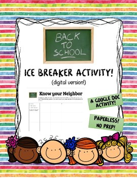 Back to School Ice Breaker Activity for Google Classroom #TPTDigital