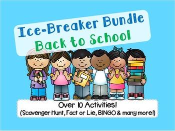 Back to School Ice Breaker Pack (Scavenger Hunt, Bingo, Fact or Lie, etc)