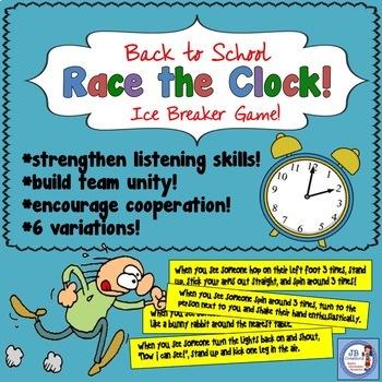 Back to School Ice Breaker:  Race the Clock!  (2, 3, 4, 5 grade)