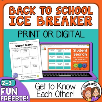 Back to School BINGO Ice Breaker: Student Search for grades 2-3  ~~FREE~~