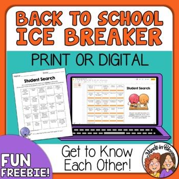 Back to School BINGO Ice Breaker: Student Search for grades 4-6+ ...