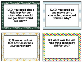 Back to School Ice Breaker Task Cards for Grades 6 and Up