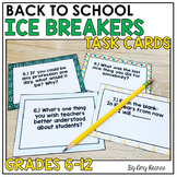 Back to School Ice Breakers Task Card Questions