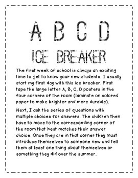 Back to School Ice Breakers