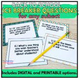 Back to School Ice Breakers Digital and Print