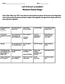 """Back to School Ice Breakers: Funny Human Bingo/""""Find Someone Who"""""""
