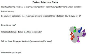 Back to School Ice Breakers; Partner Interviews,Writing Prompts,Group Activities