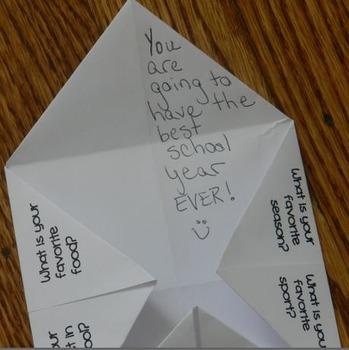 Back to School Icebreaker Activity: Fortune Teller
