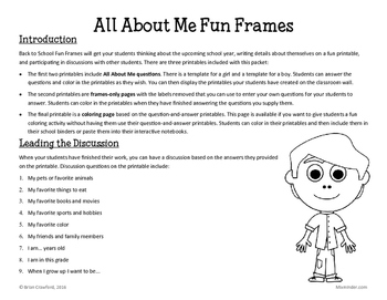 Back to School Icebreaker: All About Me Fun Frames Writing Activity