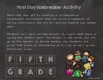 Back to School Icebreaker-Fifth Grade