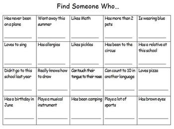 Back to School Icebreaker - Find Someone Who...