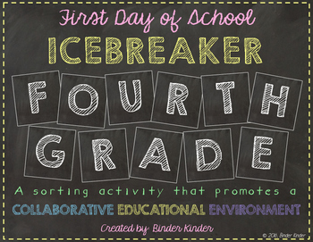 Back to School Icebreaker-Fourth Grade