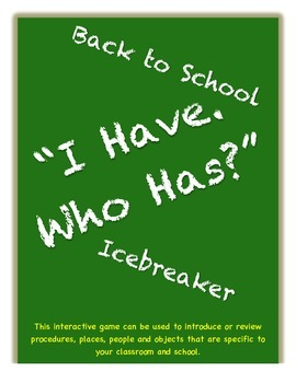 """Back to School Icebreaker """"I Have Who Has"""""""