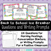 First Day of School Activities - Back to School Ice Breaker and Writing Prompts